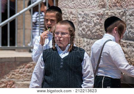 Religious Jewish Boys Near To Western Wall In Jerusalem, Israel