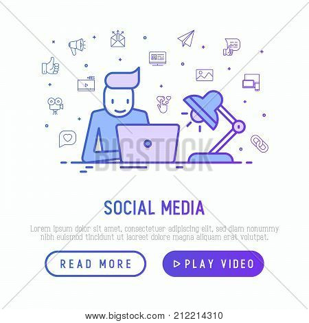 SMM manager is working overtime with laptop and lamp with thin line icons of thumbs up, share, link, send e-mail, music, stream, comment. Vector illustration for template of web page.