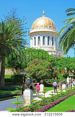 HAIFA, ISRAEL - SEPTEMBER 18, 2017: View of Bahai gardens and the Shrine of the Bab on mount Carmel in Haifa, Israel