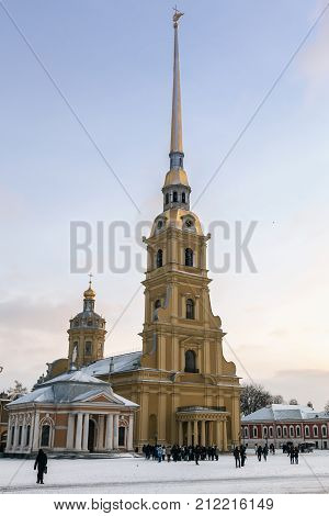 Saint Petersburg, Russia - January 5, 2015: tourists and people in the courtyard of the Peter and Paul fortress in Saint-Petersburg, Russia.