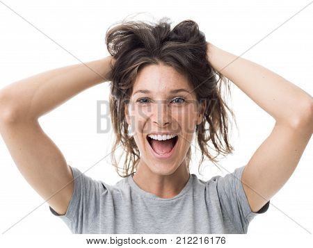 Cheerful Woman With Messy Hair