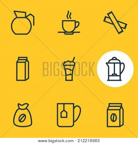 Editable Pack Of Sweetener, Package, Bag And Other Elements.  Vector Illustration Of 9 Drink Icons.