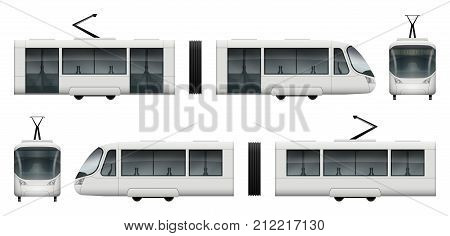Vector tram train template for advertising corporate identity. White tramway illustration. Vehicle branding mockup. Layers and groups well organized for easy editing and recolor.
