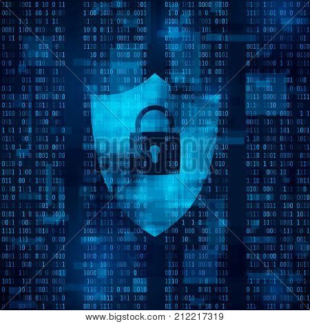 encryption of information. firewall - data protection. system of network security. Abstract vector technology background