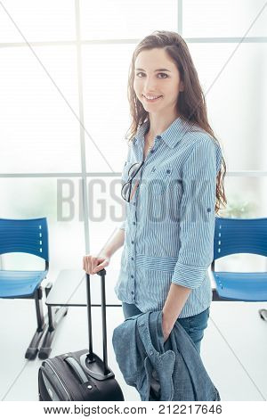 Young Woman In Terminal Waiting Room