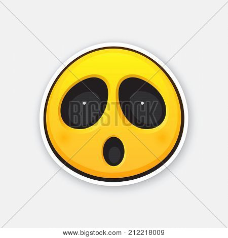 Vector illustration. Emoticon for expressing emotion of surprise or fear or fright. Wonder or consternation emoji. Icon for expression of feelings. Sticker with contour. Isolated on white background