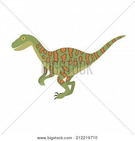 Deinonychus dinosaur color dino design illustration. Flat vector illustration isolated on white background for children