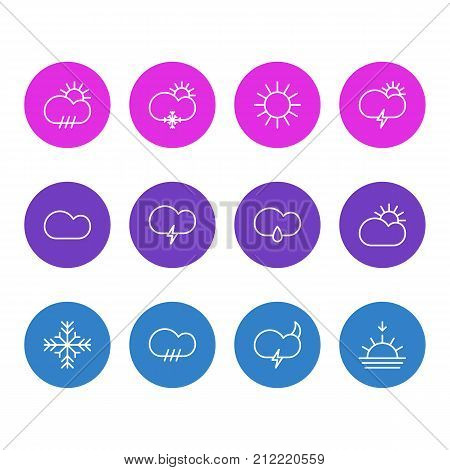 Editable Pack Of Windstorm, Fulminant, Weather And Other Elements.  Vector Illustration Of 12 Sky Icons.