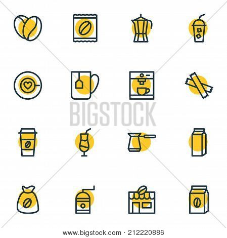 Editable Pack Of Espresso, Coffeemaker, Coffee To Go And Other Elements.  Vector Illustration Of 16 Coffee Icons.