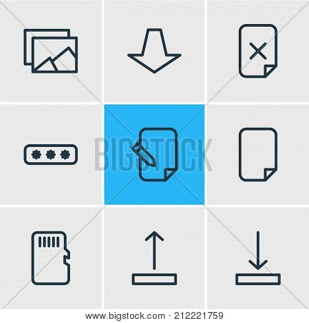 Editable Pack Of Memory, Gallery, File And Other Elements.  Vector Illustration Of 9 Memory Icons.