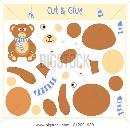 Education paper game for the development of preschool children. Cut parts of the image and glue on the paper. Vector illustration. Use scissors and glue to create the applique. Bear in scarf. Teddy.