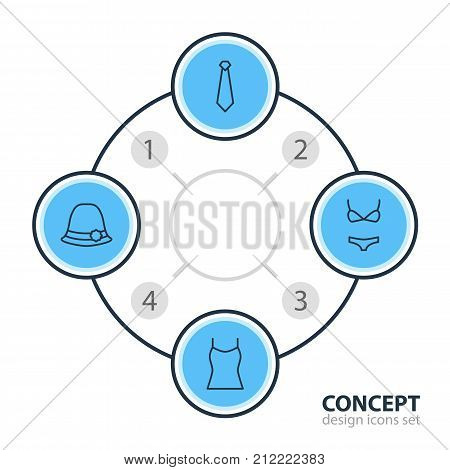 Editable Pack Of Panama, Cravat, Swimsuit And Other Elements.  Vector Illustration Of 4 Dress Icons.
