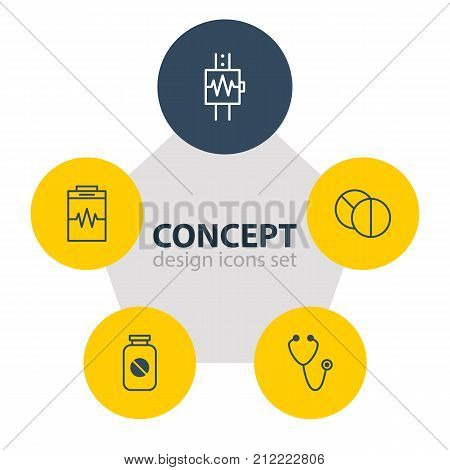 Editable Pack Of Aspirin, Pulse, Heartbeat And Other Elements.  Vector Illustration Of 5 Medicine Icons.