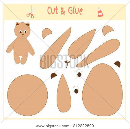 Education paper game for the development of preschool children. Cut parts of the image and glue on the paper. Vector illustration. Use scissors and glue to create the applique. Teddy bear.
