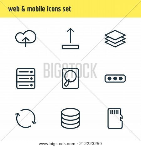 Editable Pack Of Memory, Parole, Layer And Other Elements.  Vector Illustration Of 9 Memory Icons.