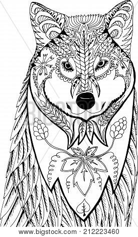 Portrait of a wolf. Hand drawn patterns for coloring. Freehand sketch drawing for adult antistress coloring book in zentangle style.