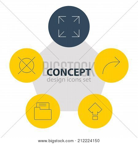 Editable Pack Of Dossier, Wide Monitor, Cancel And Other Elements.  Vector Illustration Of 5 UI Icons.
