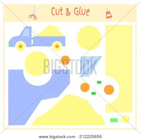 Education paper game for the development of preschool children. Cut parts of the image and glue on the paper. Vector illustration. Use scissors and glue to create the applique. toy truck sand.