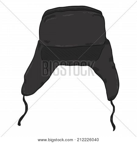 Vector Single Cartoon Ear Flapped Hat. Russian Style Headwear.