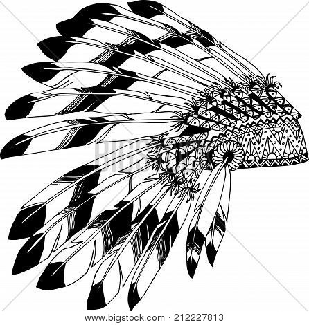Native American chieftain headdress with feathers. Indian card in a sketch style. Hand drawn patterns for coloring.