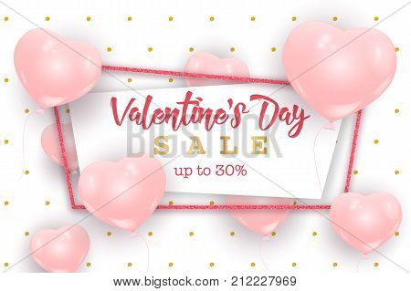 Valentine's Day sale web banner flyer concept. Valentine's Day background. Pink cute balloons in shape of heart randomly flying over white background, gold dots pattern. Valentine Day banner.