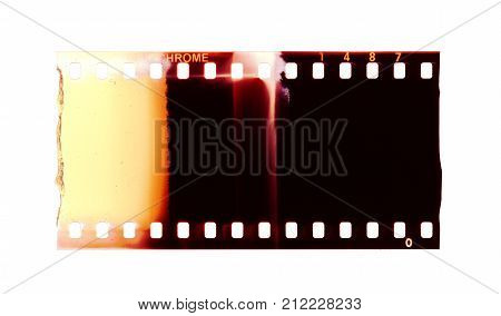 Color 135 type (35mm) film strip template positive (slide) isolated on white background with work path.