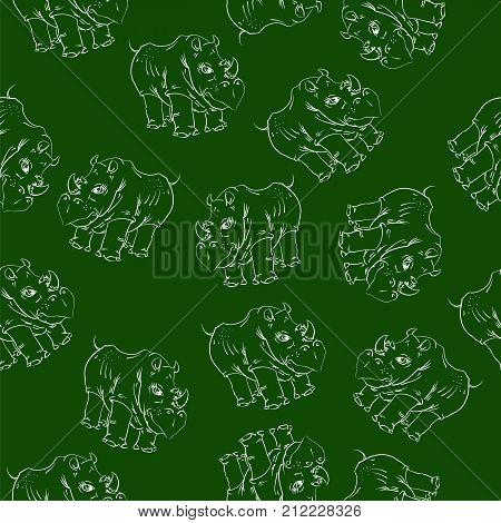 White Rhino Seamless Pattern on Green Background