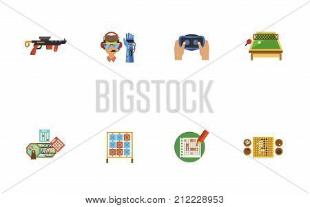 Activities Icon Set. Virtual Reality Gun Bionic Arm Virtual Reality Headset Table Tennis Lottery Balls And Tickets Tic Tac Toe Game Sea Battle Sheet Go Game