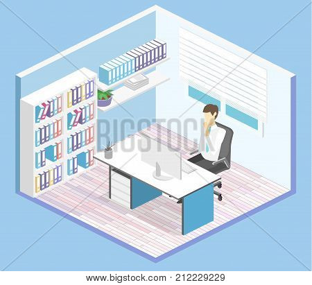 Isometric Interior Of Director's Office. Flat 3D Illustration Cabinet.