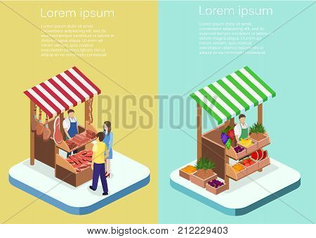 Isometric Flat 3D Isolated Concept Vector Butcher Shop.