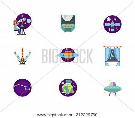 Cosmos Icon Set. Astronomy Scientist Spacecraft Control Space Station Shuttle Launch Planet Saturn Night Behind Window Constellation Earth In Space Alien Spaceship