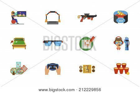 Cyberspace Icon Set. Woman Gaming Platform Gun Virtual Reality Concept Table Tennis Smart Glasses Sea Battle Bionic Arm Lottery Virtual Reality Headset Go Game Board Glasses For Beer Pong