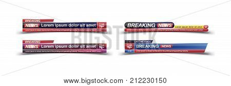 Breaking News Template Title On White Background For Screen Tv Channel. Flat Vector Illustration Eps