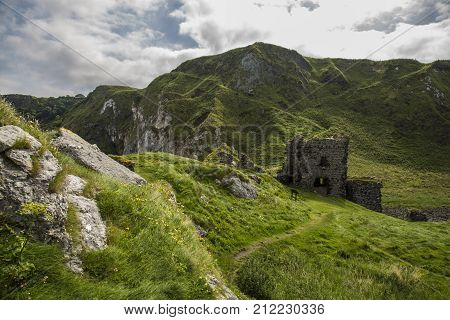 old ruin of kinbane castle antrim coast north ireland
