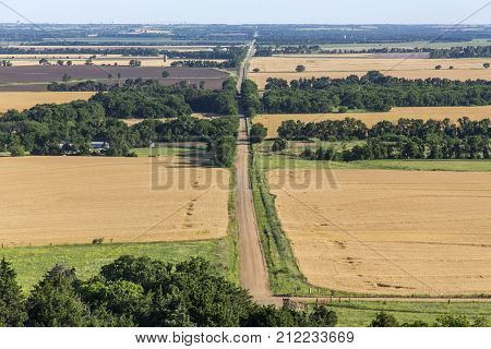 rural Kansas road and wheat fields; view from Coronado Heights Park, Kansas
