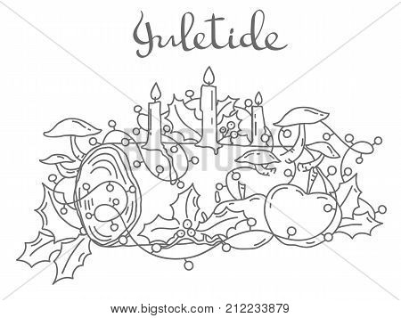 Traditional Yule Log, hand drawn outline vector illustration