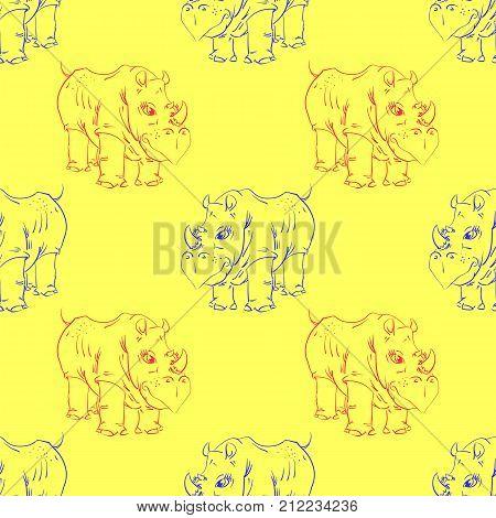Cartoon Rhino Seamless Pattern on Yellow Background