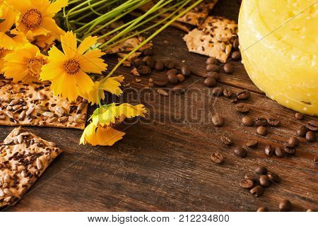 Food composition of gourmet cheese, top view free space. Quality sort of Caciotta with flower and coffee seed on woden background, sunny mood concept. Dairy local industry