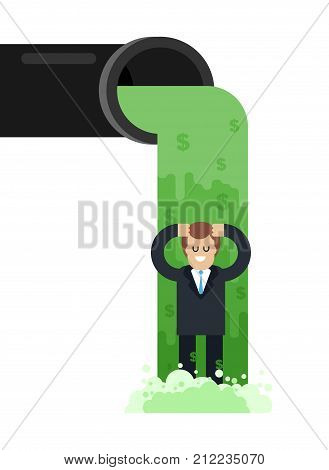 Flow Of Money From Pipe. River Of Cash. Flow Of Dollars. Profit Business Concept. Vector Illustratio
