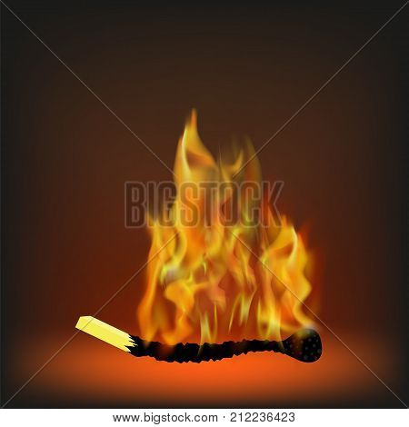 Burning Match with Fire on Orange Blurred Background