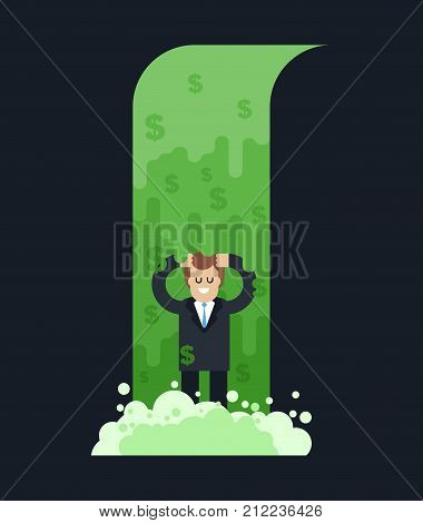 Money Waterfall And Businessman. River Of Cash. Flow Of Dollars. Profit Business Concept. Vector Ill
