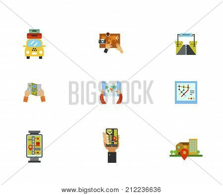 Exploration Icon Set.Taxi With Suitcases Planning Trip Road Sign Paper Map Subway Map Street Map Gps Navigation Geo Location