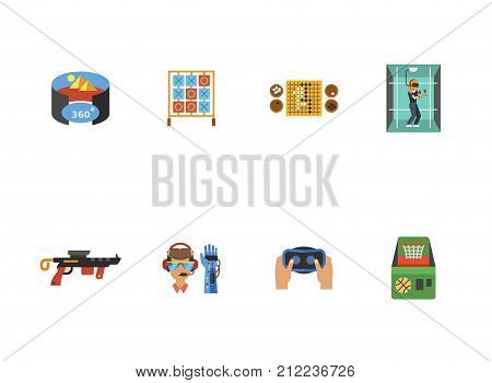 Games Icon Set. Virtual Reality Room Table For Tic Tac Toe Game Go Game Woman In Virtual Reality Room Gun Bionic Arm Virtual Reality Headset Basketball Machine