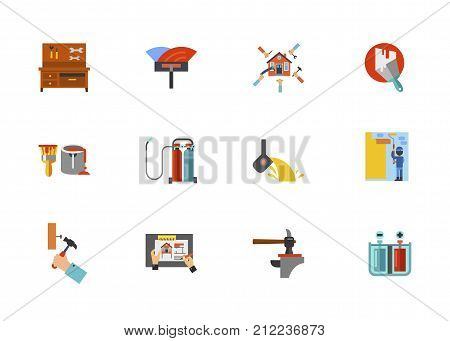 Home Renovation Icon Set. Workbench With Tools Spatula For Installation Floor Renovation Plastered Wall Paint Can Oxy Fuel Welding Melting Iron Man Hammering Nail Hammer And Anvil Galvanization poster