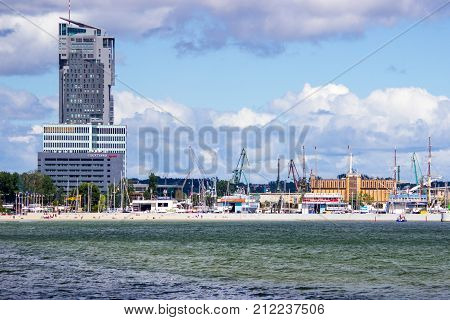 Gdynia Poland - August 13 2017: Panoramic view of the harbor at Baltic Sea in Gdynia.