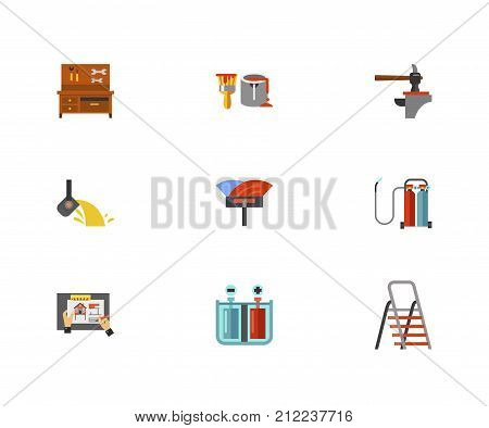 Metalworking Icon Set. Workbench With Tools Paint Can Hammer And Anvil Melting Gold Spatula For Installation Floor Oxy Fuel Welding House Remodeling Galvanization Process Folding Ladder