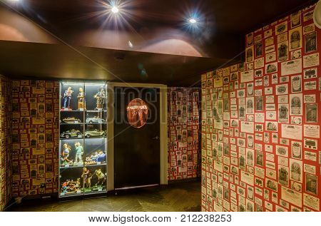 Moscow, Russia - April 27, 2011 - Restaurant interior with subdued lights