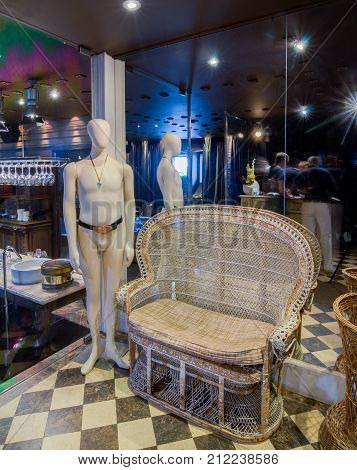 Moscow, Russia - April 27, 2011 - Restaurant interior with subdued lights mannequin