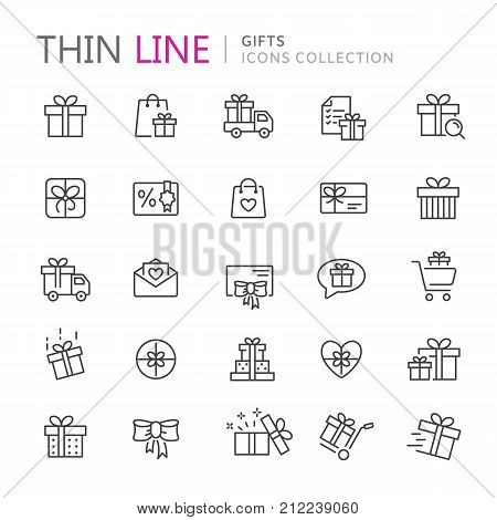 Collection of gifts thin line icons. Vector eps 10