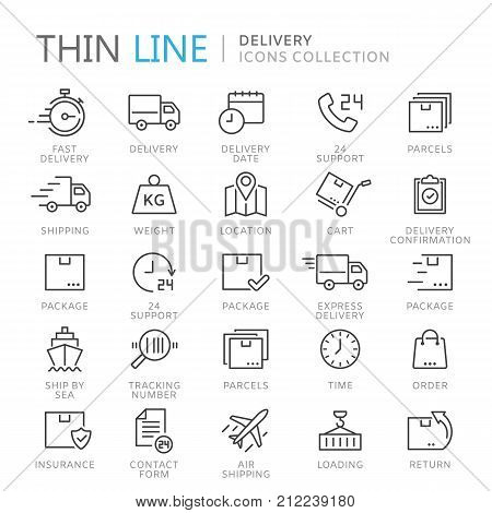 Collection of delivery thin line icons. Vector eps 10